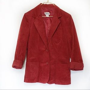 Vintage Red Faux Suede Fitted Blazer L/12 EUC